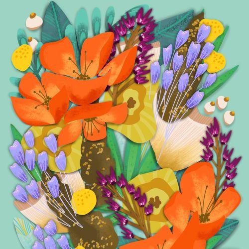 Peggy Dean Ilustrador floral, letras e caprichoso. NOS