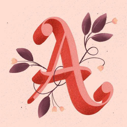Nature alphabet lettering A