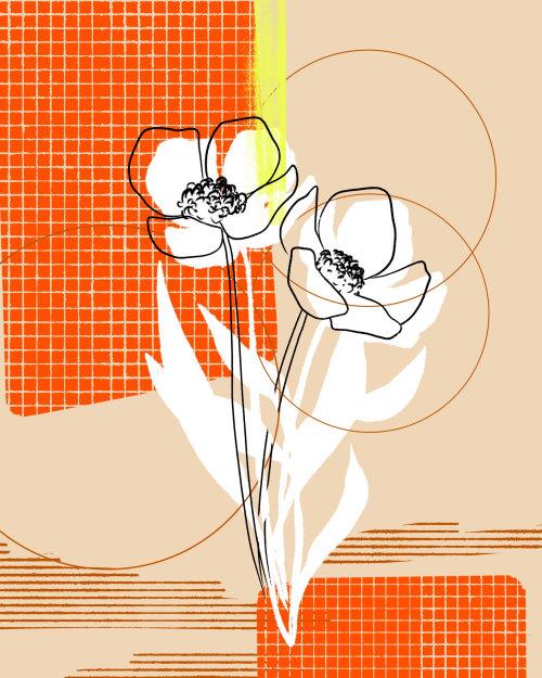 Graphic flower line art