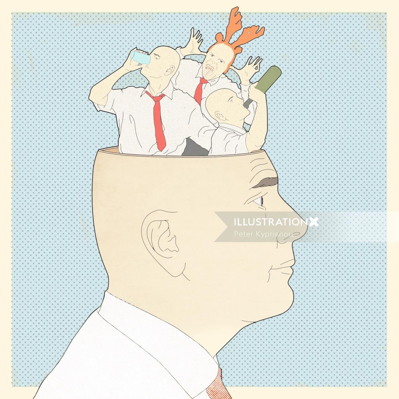 Editorial art of man brain