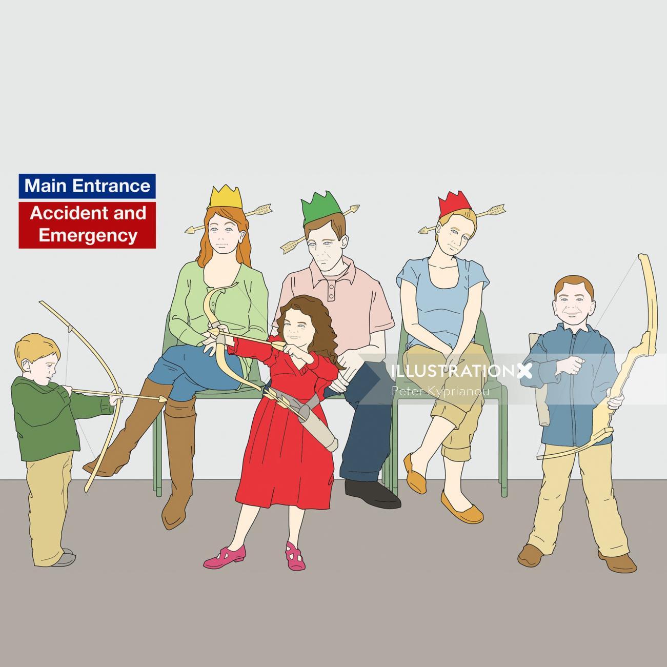 Cartoon illustration of children's playing