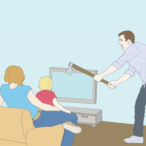 Contemporary art of man destroying tv