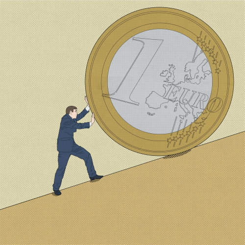 Business man pushing  euro coin