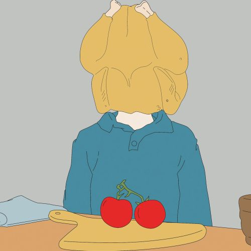 Man with Tomato and chicken head