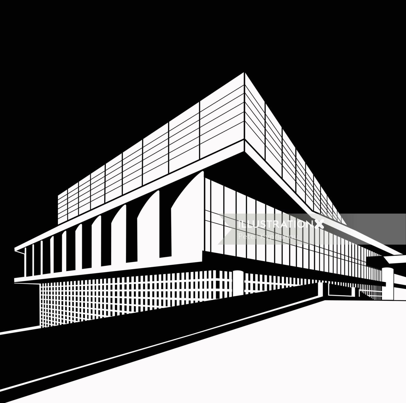stylish black and white architecture