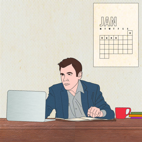 Lifestyle illustration of working man