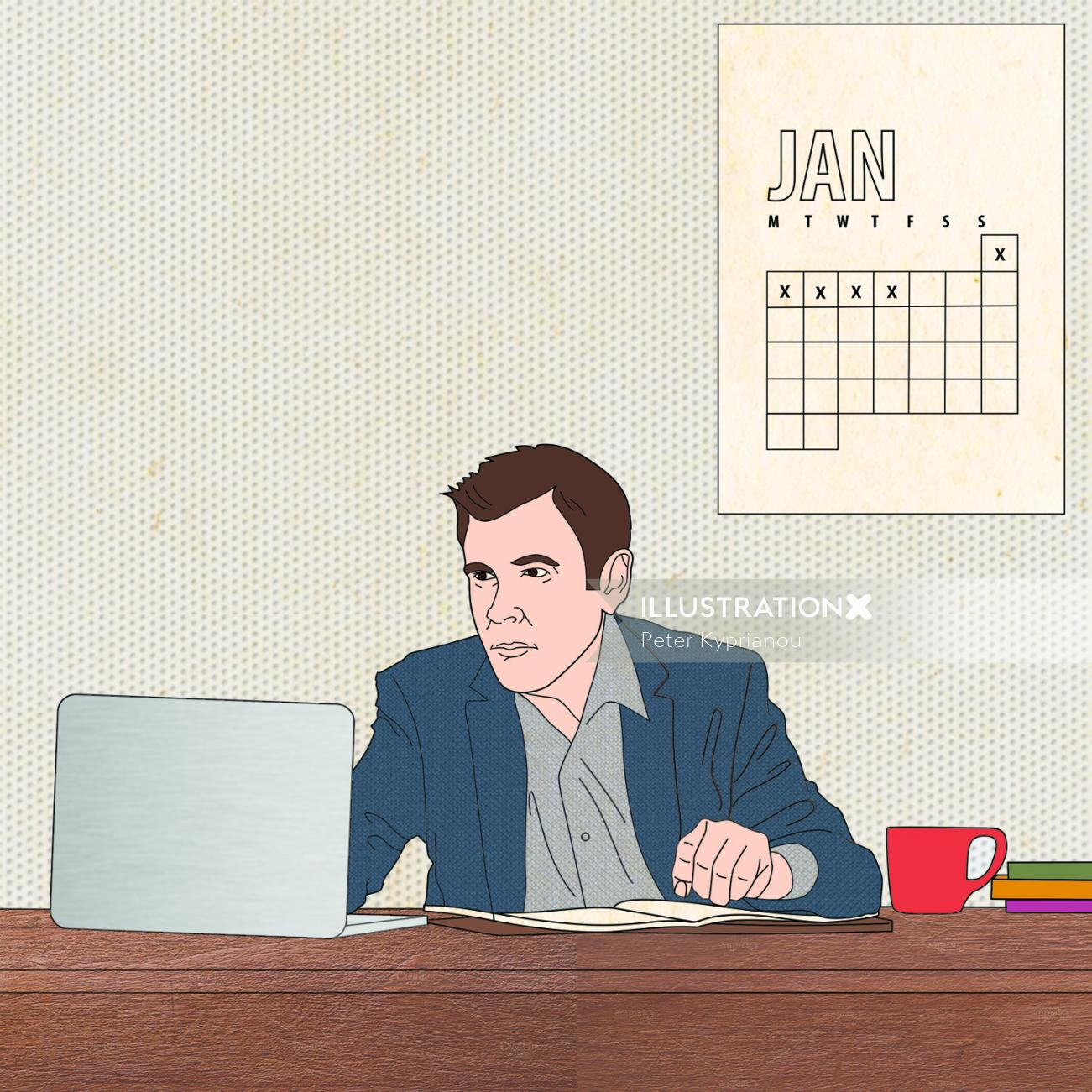 Lifestyle illustration of working man