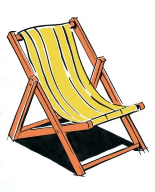 Deckchair on a white background