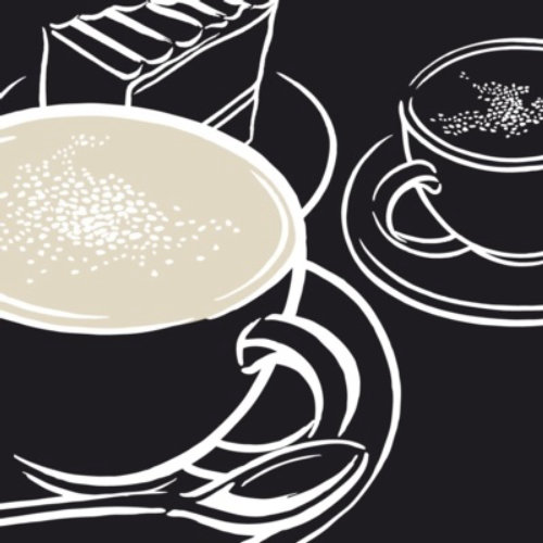 Line art of Coffee on black background