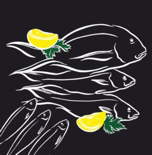 Line art of fish with yellow lemon