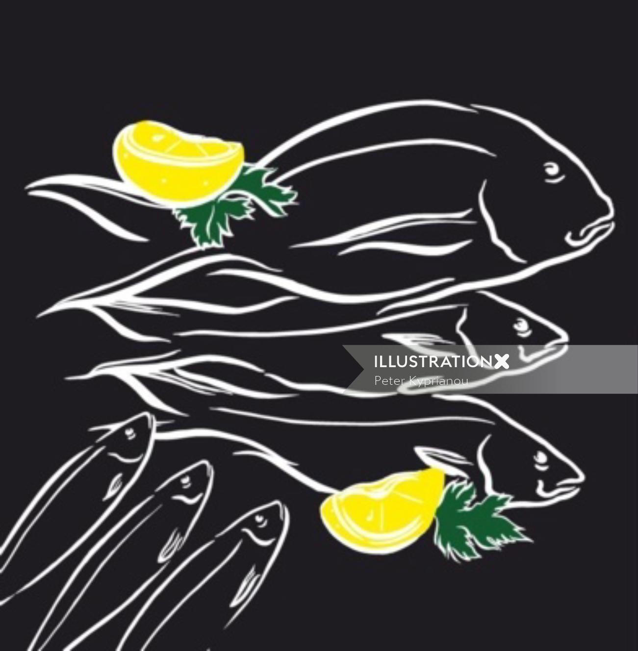Line art of fish with yellow lemon