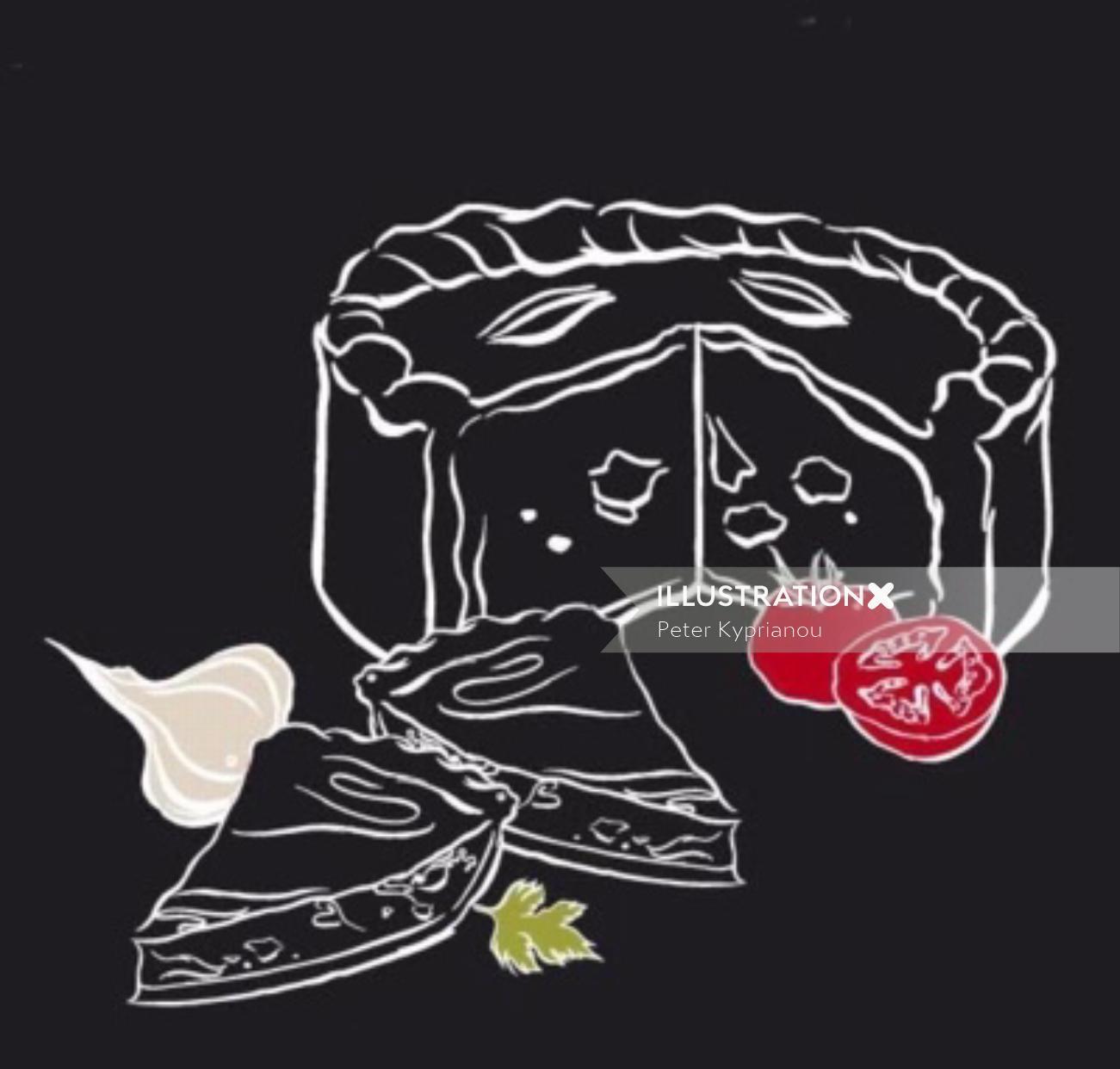 Line art of Sliced cake and vegetables