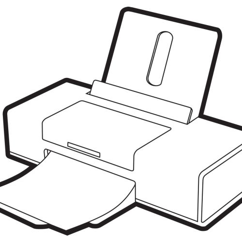 Printer Line art on white background