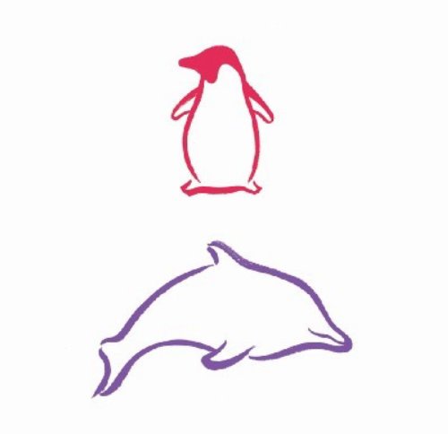 Line art of Penguin and Dolphin