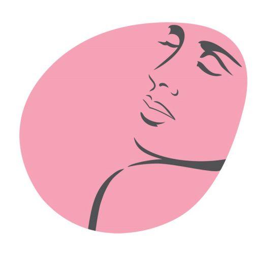 Line art of a sleeping woman