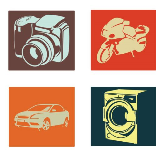 Icons of camera, bike, car and washing maching