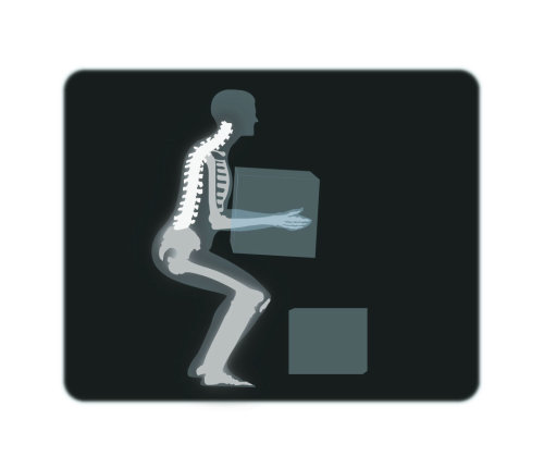 Man lifting boxe in xray