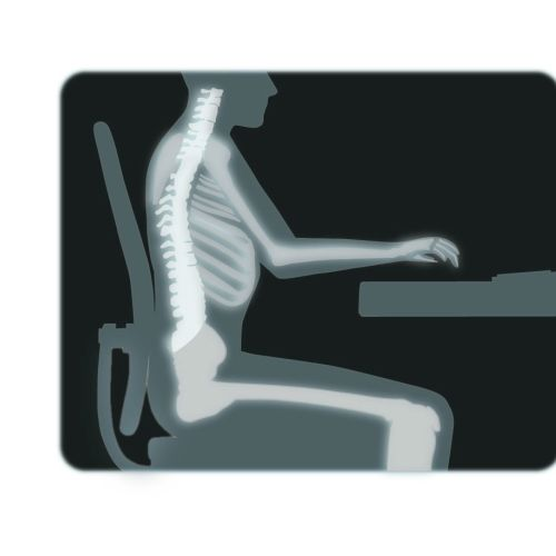 An X-ray illustration of man sitting on chair