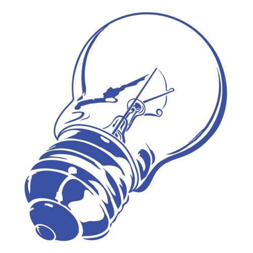 Ampoule en ligne bleue