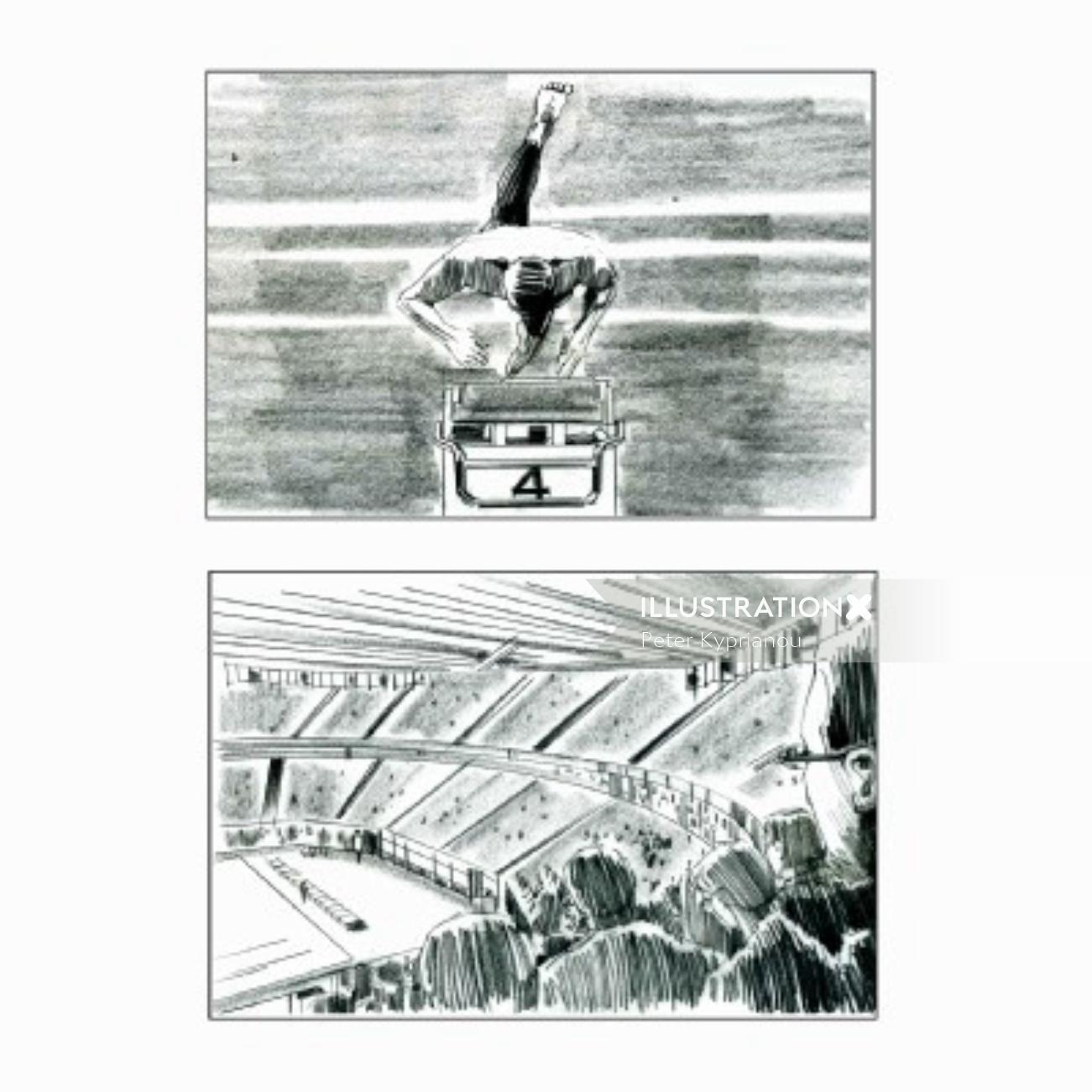 Storyboard of swimming stadium