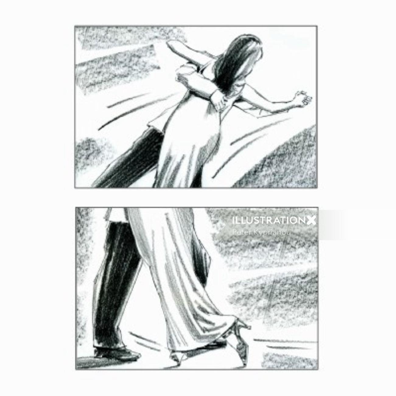 Storyboard pencil art of couple