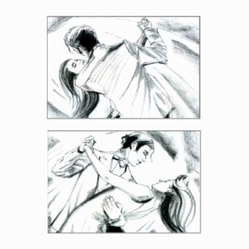 Pencil art storyboard of couple