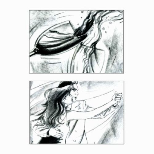 Storyboard of wine spilling and couple dance