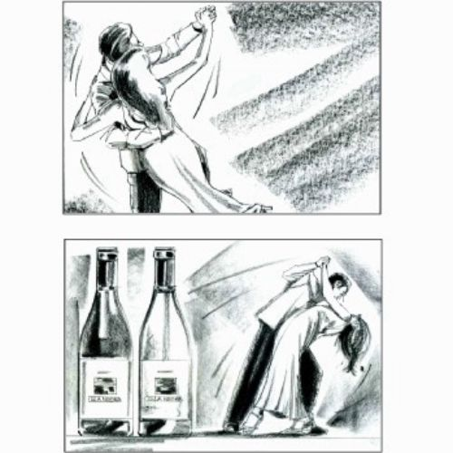 storyboard, pencil art of couple