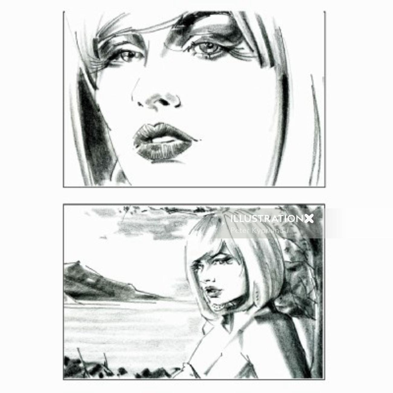 Pencil art of beautiful women