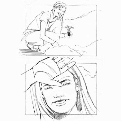 pencil art story board of women