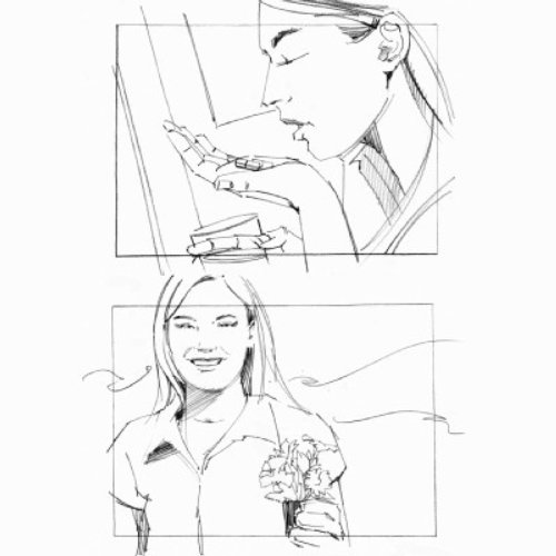 Women with plant storyboard