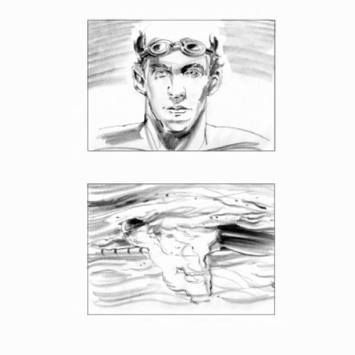 pencil art story board of swimmer