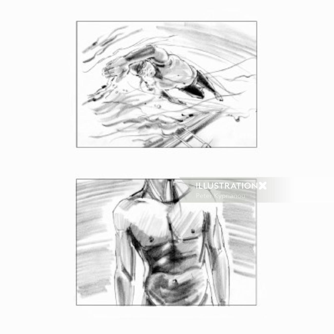 Pencil art infographic of a swimmer