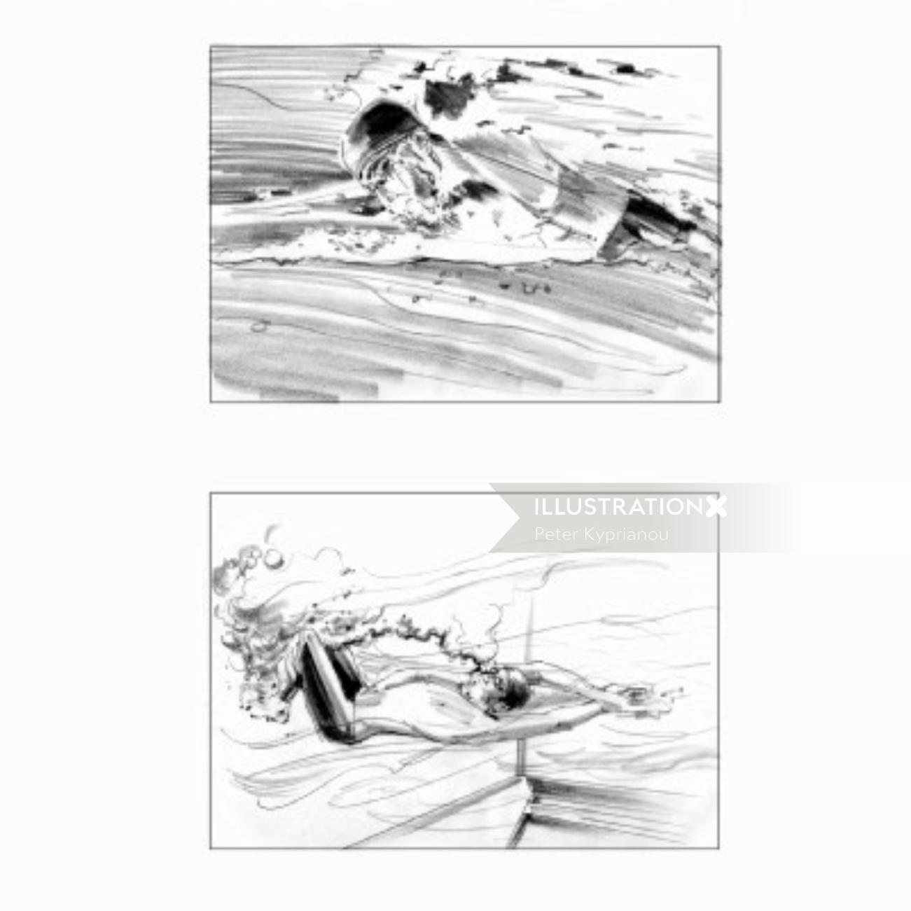 Swimmer backstroke pencil art