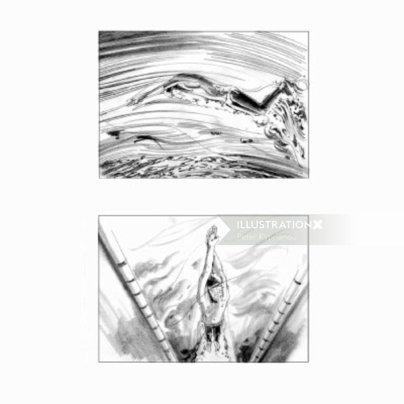 Different swimming poses