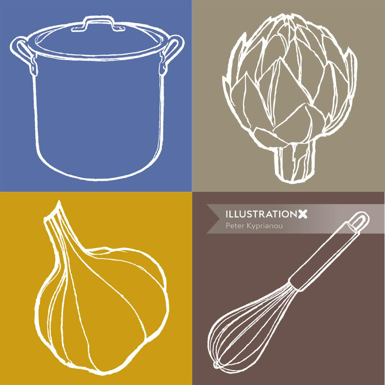 Pictogram of Utensils and vegetables