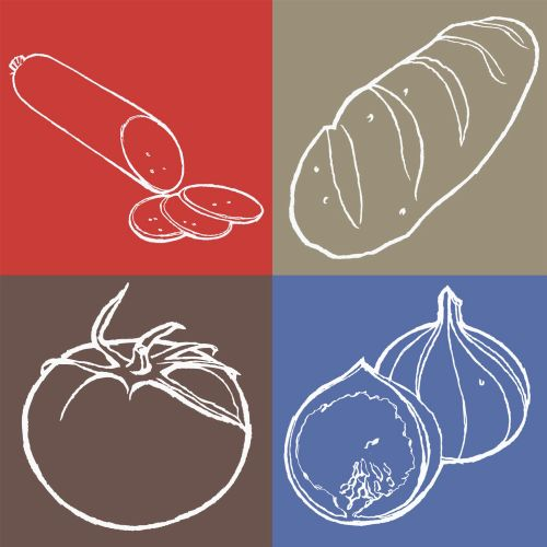 line art of vegetables pictograms
