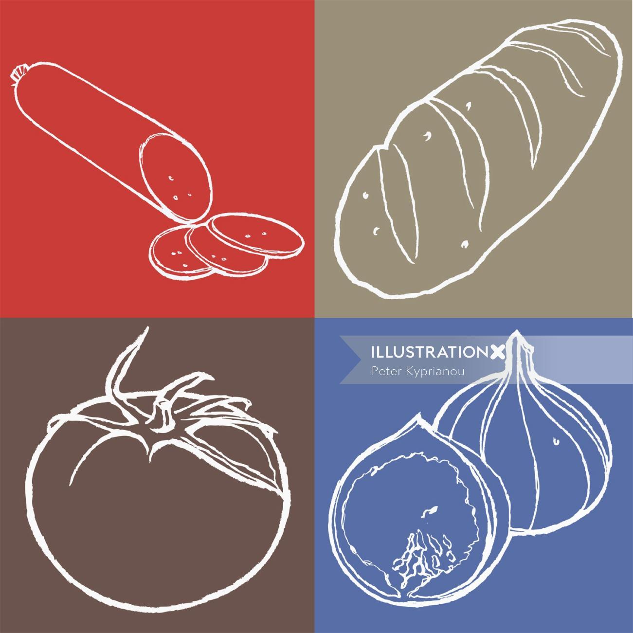 line art of vegetables pictograms