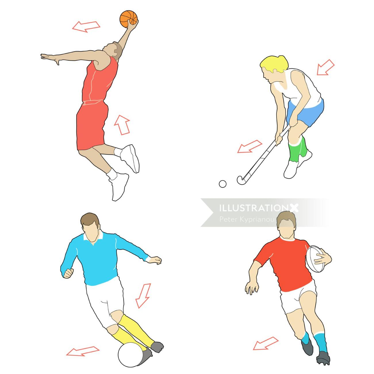 Vector art of sports icons design by Peter Kyprianou