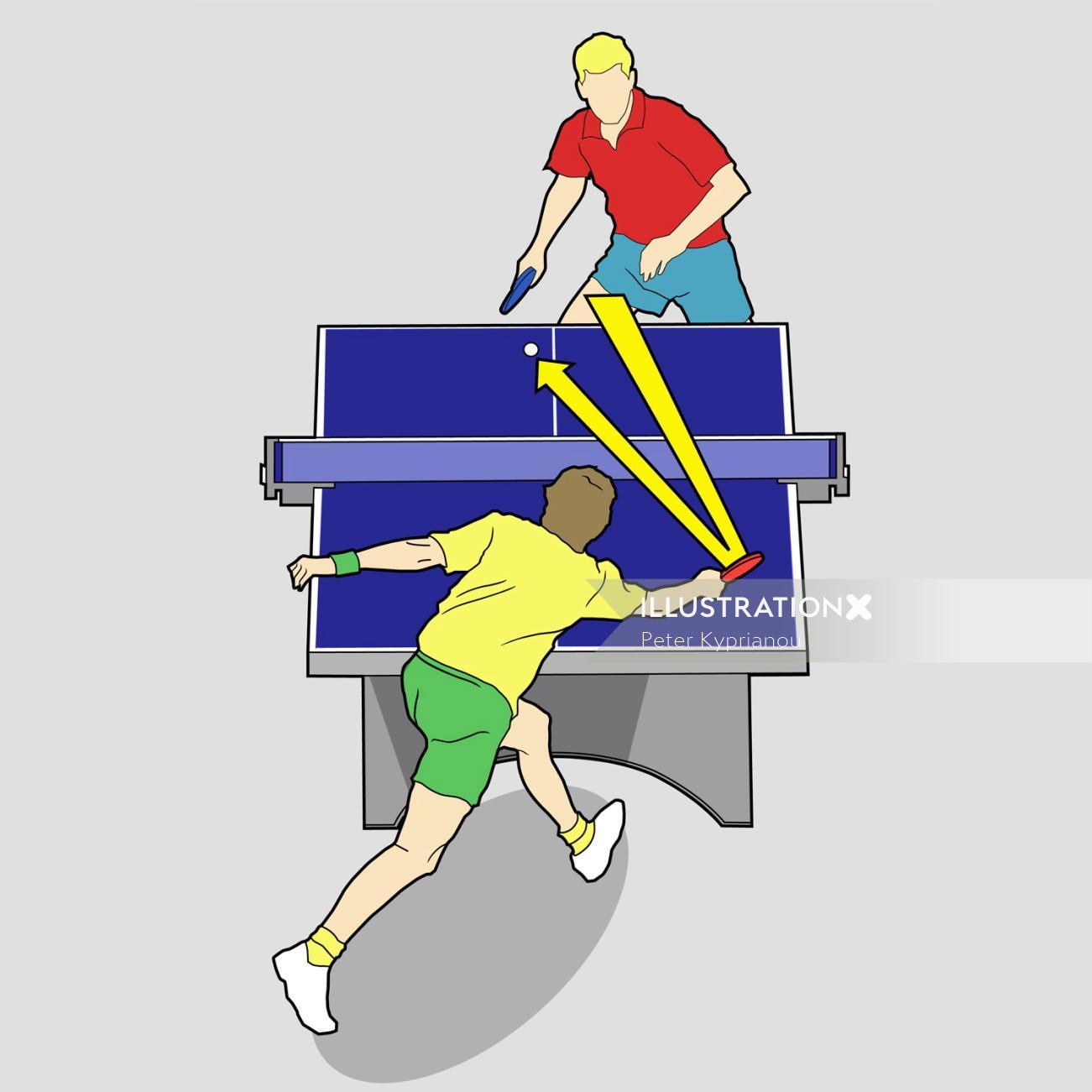 Vector illustration of table tennis