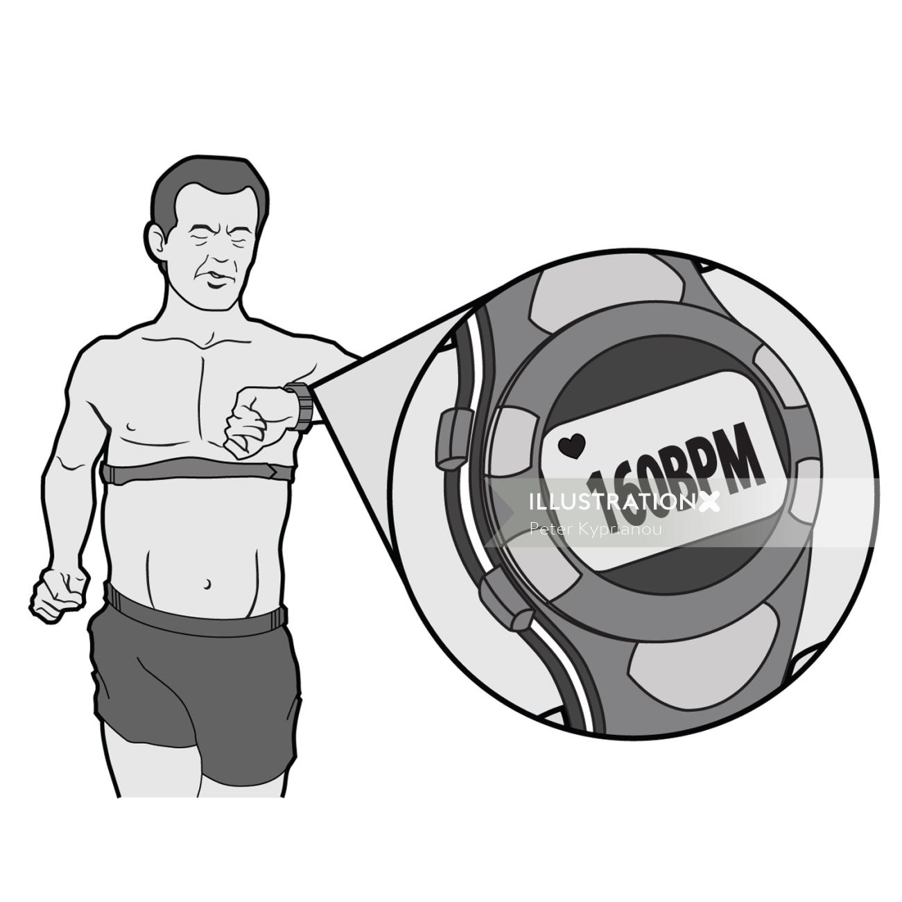 Running man with fitness watch