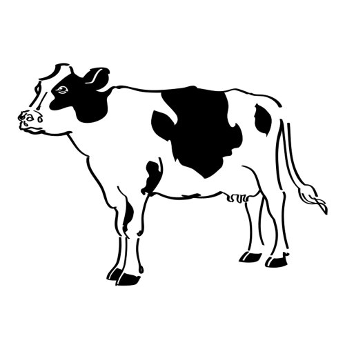 Line art of Cow on white background