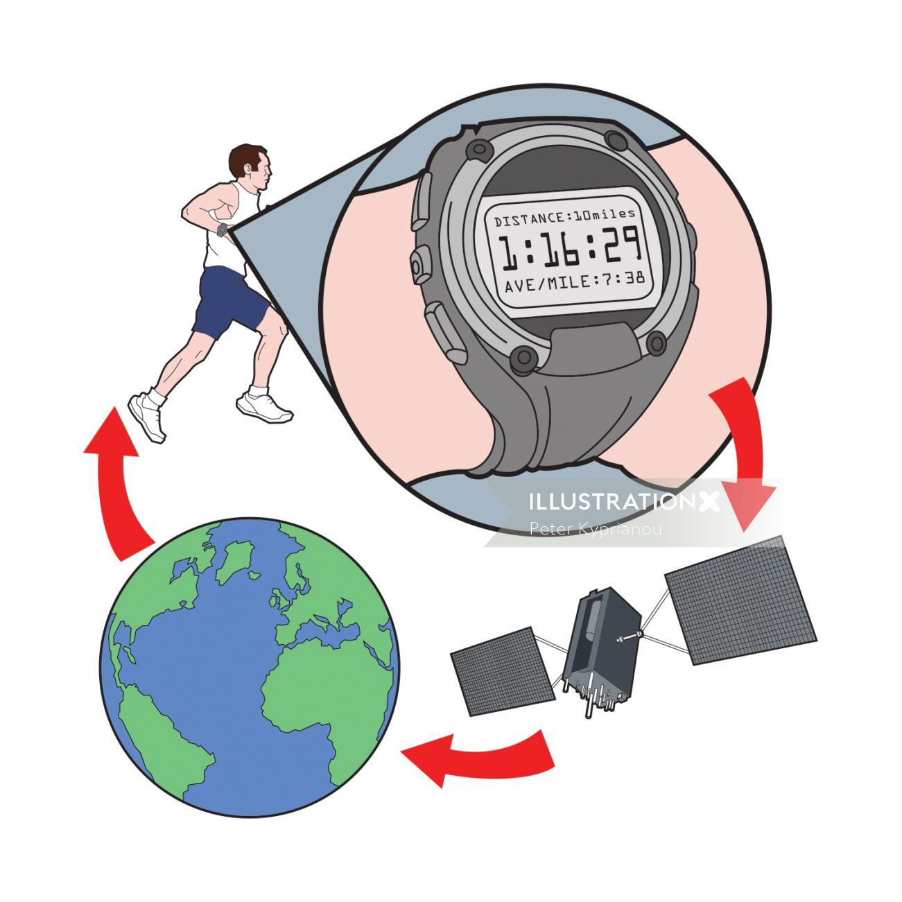 Man running illustration by Peter Kyprianou