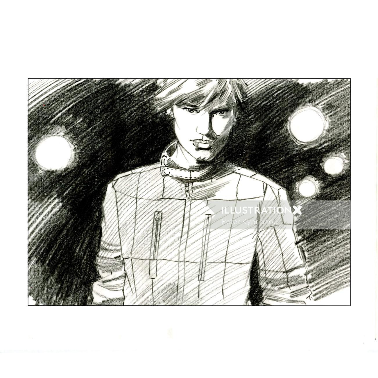 Pencil art of Male fashion model