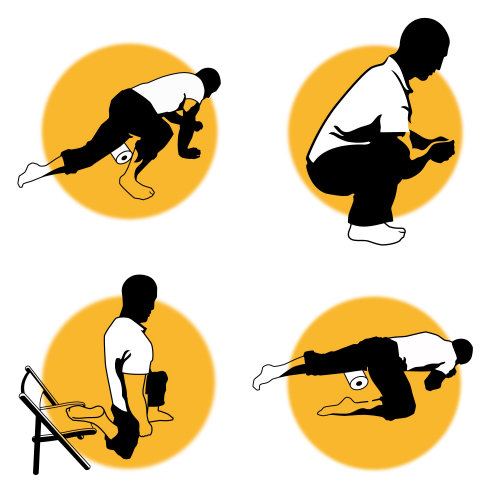 Infographic of a man doing fitness exercises