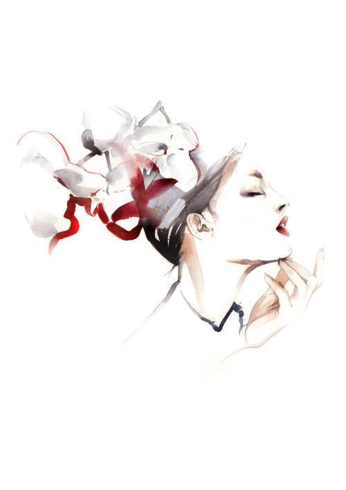 illustration de beauté aquarelle du modèle féminin