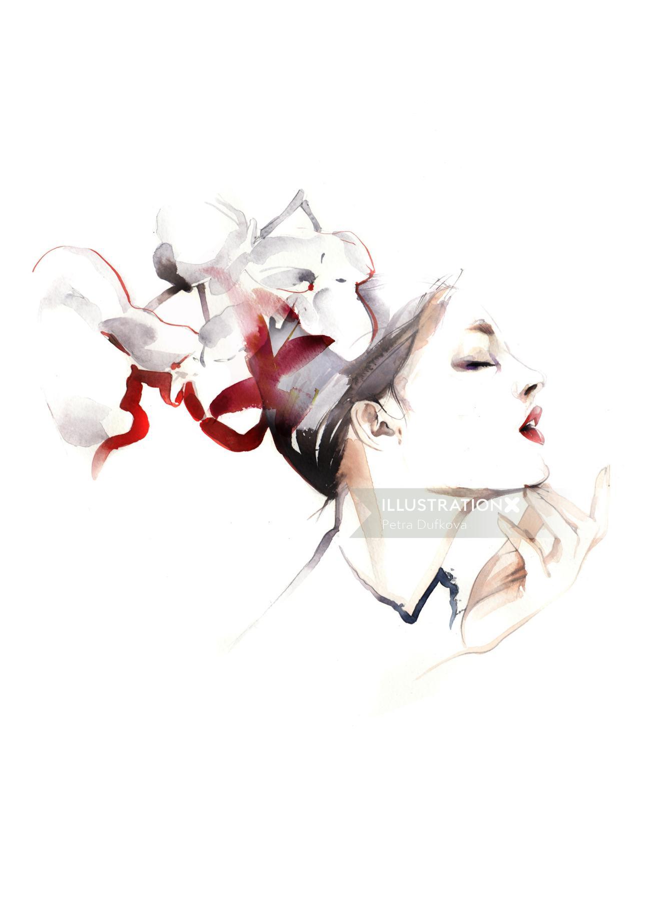watercolor beauty illustration of female model