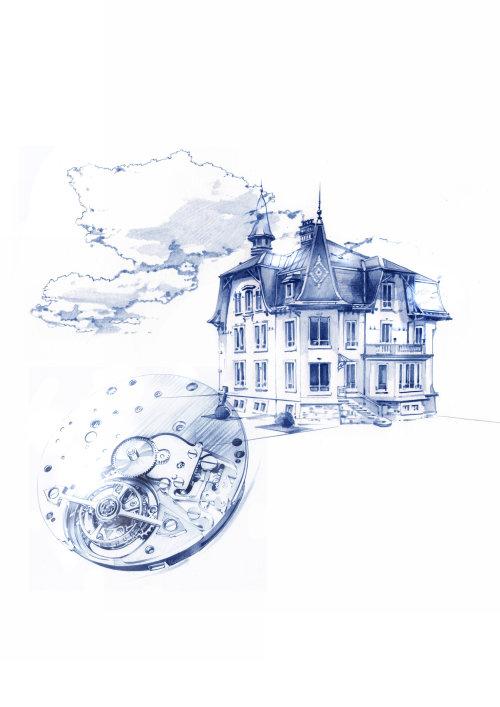 illustration aquarelle du bâtiment et de la machine