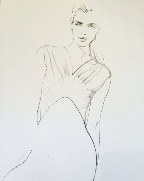 Line illustration of woman model