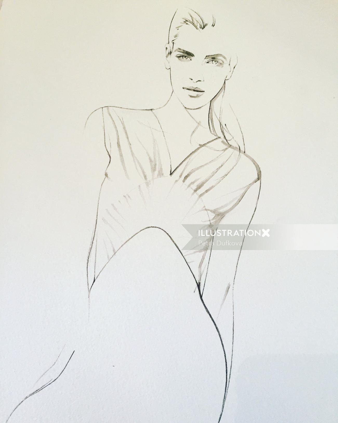 Line illustration of woman model